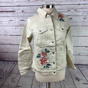 DG2 Diane Gilman floral embroidered denim jacket